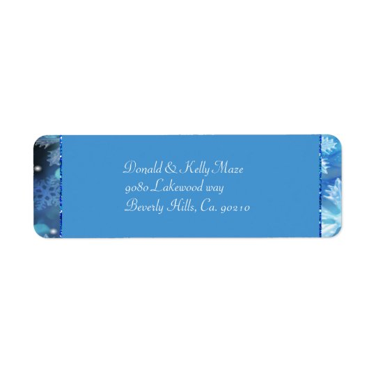 Icy Blue Winter Wonderland Wedding Return Address Label