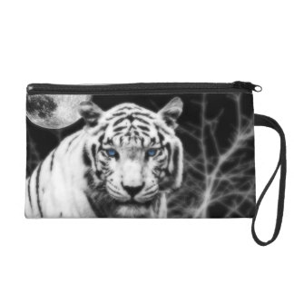 Icy Eyed White Tiger Wristlet Purse