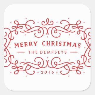 Icy Frame Holiday Sticker - Crimson
