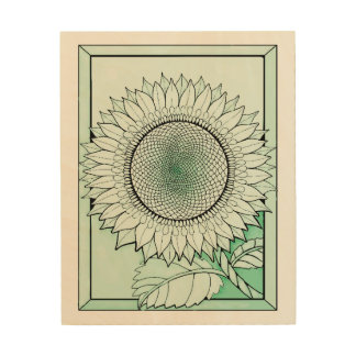 Icy Green Sunflower Wood Canvases