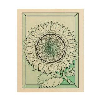 Icy Green Sunflower Wood Wall Art