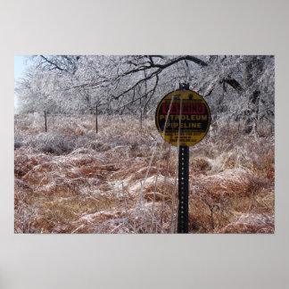 Icy Petroleum Pipeline Warning Print