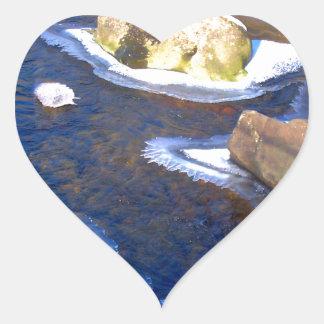 Icy Rocky River Heart Sticker