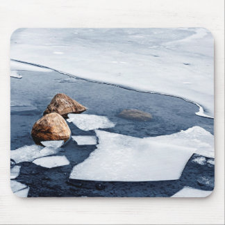 Icy shore in winter mouse pad