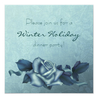 Icy Teal & Blue Winter Rose 13 Cm X 13 Cm Square Invitation Card