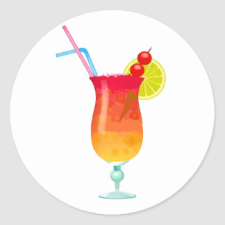 Icy Tropical Rum Punch Round Stickers