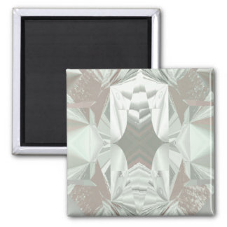 Icy White on Pink Square Magnet