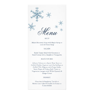 Icy Winter Snowflake Menu Personalized Rack Card