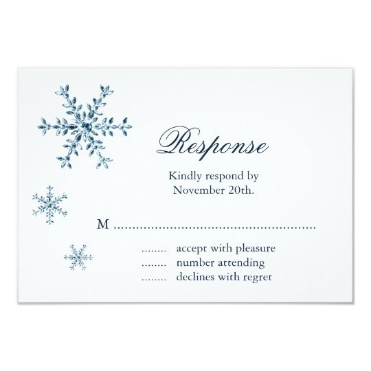Icy Winter Snowflake Wedding RSVP Card