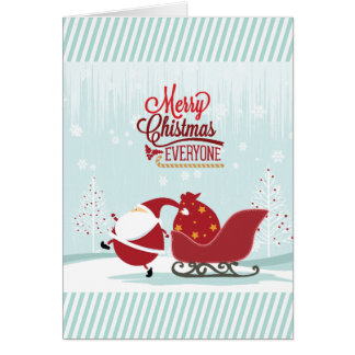 Icy Wonderland Santa And Sleigh Card