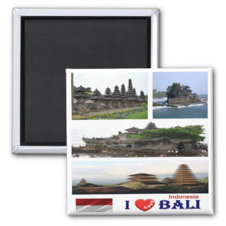 ID - Indonesia - Bali - I Love - Collage Mosaic Square Magnet
