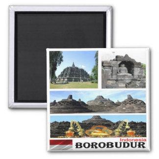 ID - Indonesia - Borobudur - Collage Mosaic Square Magnet