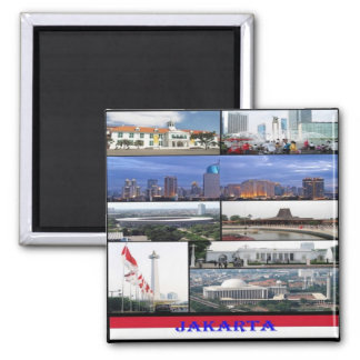 ID - Indonesia - Jakarta - Collage Mosaic Square Magnet