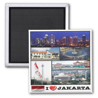 ID - Indonesia - Jakarta - I Love - Collage Mosaic Square Magnet