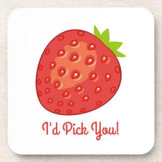 """I'd Pick You!"" Strawberry Coasters"