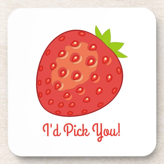 """I'd Pick You!"" Strawberry Coasters"