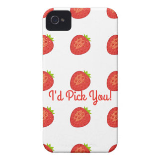 """I'd Pick You!"" Strawberry IPhone4 Barely There Case-Mate iPhone 4 Case"