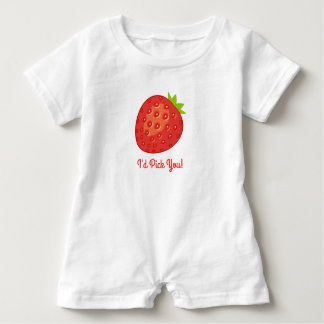 """I'd Pick You!"" Strawberry Romper Suit Baby Bodysuit"