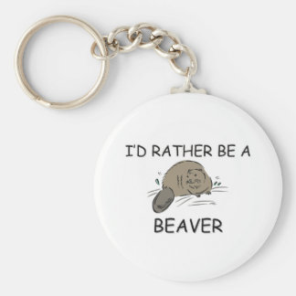 I'd Rather Be A Beaver Basic Round Button Key Ring