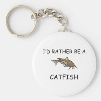 I'd Rather Be A Catfish Basic Round Button Key Ring
