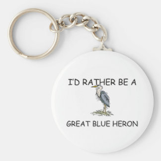 I'd Rather Be A Great Blue Heron Basic Round Button Key Ring
