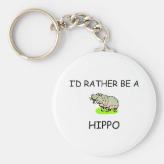 I'd Rather Be A Hippo Basic Round Button Key Ring
