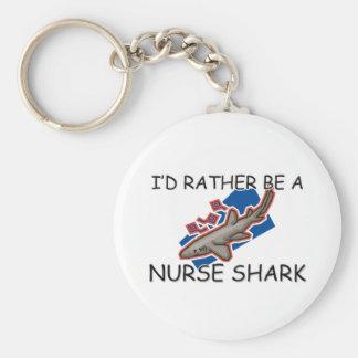 I'd Rather Be A Nurse Shark Basic Round Button Key Ring