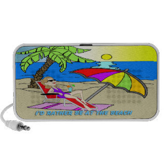 I'd Rather Be at the Beach - Woman Doodle Mini Speaker