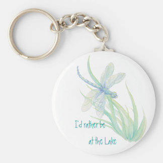 I'd rather be at the Lake  Dragonfly in Blue Aqua Basic Round Button Key Ring