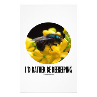 I'd Rather Be Beekeeping (Bee On Barberry Flower) Customised Stationery