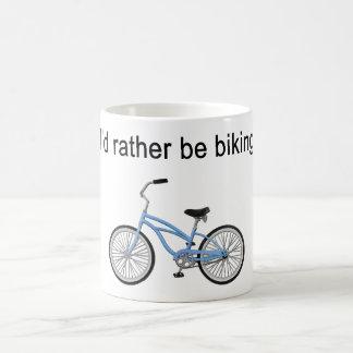 I'd rather be biking - great sentiment and design basic white mug