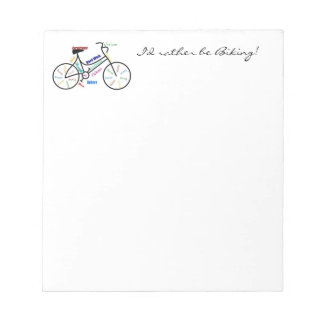 I'd Rather be Biking with Motivational Words Cycle Notepad