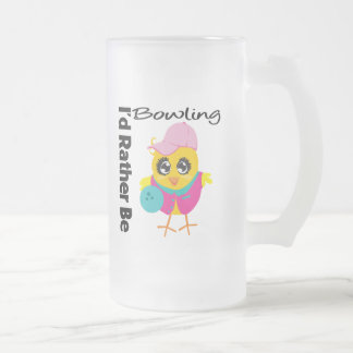 I'd Rather Be Bowling Frosted Glass Mug