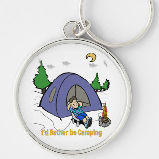 I'd Rather Be Camping - Camp Scene Round Keychain