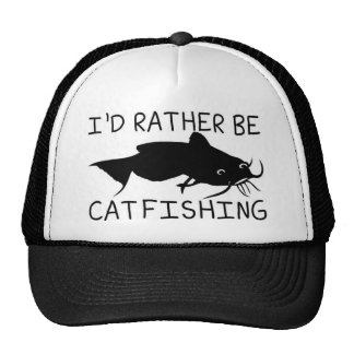 I'd Rather be Cat fishing design Cap