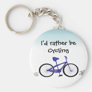 I'd Rather Be Cycling Basic Round Button Key Ring