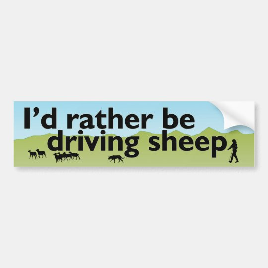 I'd Rather Be Driving Sheep Bumper Sticker