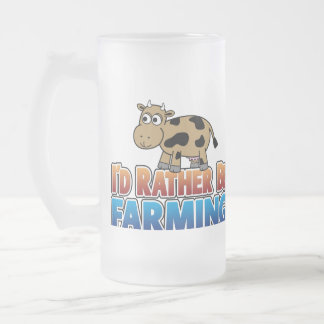 I'd Rather Be Farming - Brown Dairy Cow Frosted Glass Mug