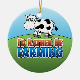 I'd Rather Be Farming - COW Round Ceramic Decoration