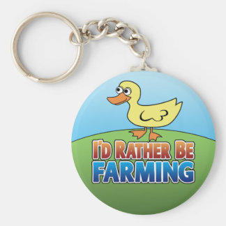 I'd Rather be Farming! duck (Virtual Farming) Basic Round Button Key Ring