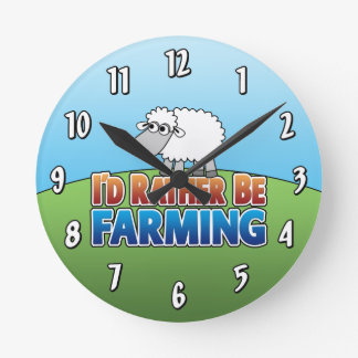 I'd Rather Be Farming - Sheep Round Clock