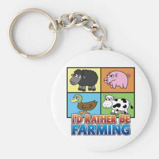 I'd rather be farming! (virtual farmer) basic round button key ring