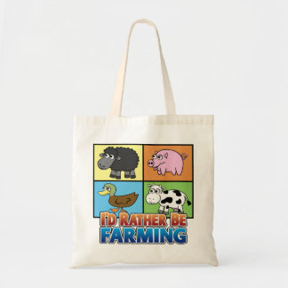 I'd rather be farming! (virtual farmer) budget tote bag