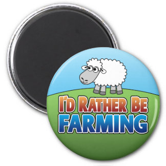 I'd Rather be Farming! (Virtual Farming) 6 Cm Round Magnet