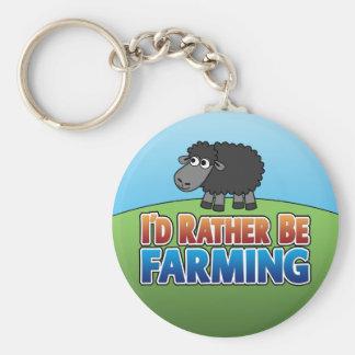 I'd Rather be Farming! (Virtual Farming) Basic Round Button Key Ring