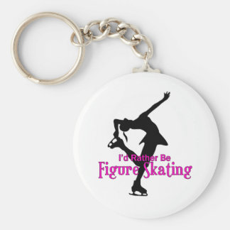 """I'd Rather Be Figure Skating"" Basic Round Button Key Ring"