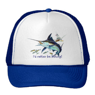 Id rather be fishing mesh hat