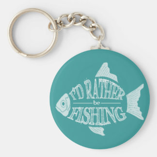 I'd Rather Be Fishing - cute fish design Basic Round Button Key Ring
