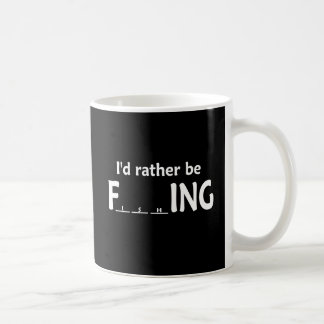 I'd Rather be FishING - Funny Fishing Basic White Mug