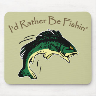 I'd Rather Be Fishing Hobby Print Mouse Mat